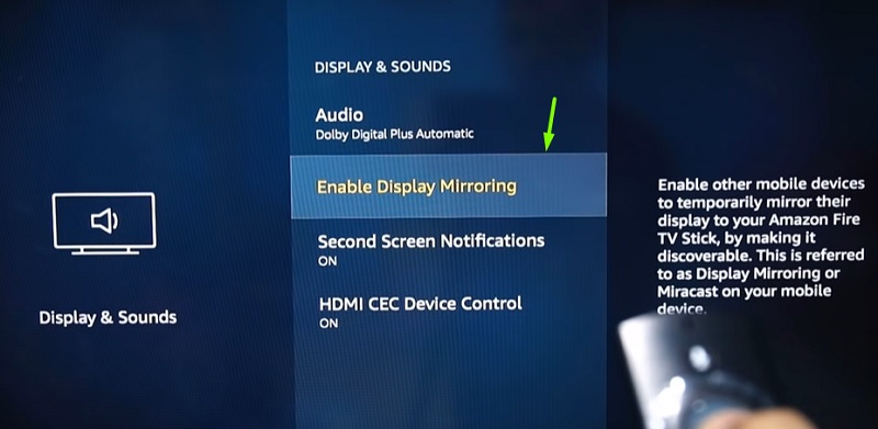 Enable display firestick mirroring