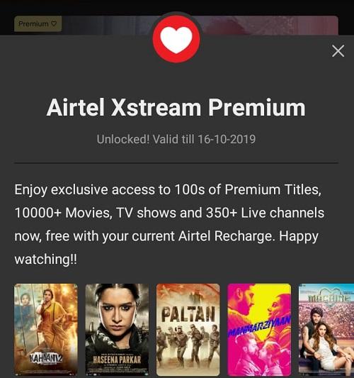 Airtel Xstream app premium