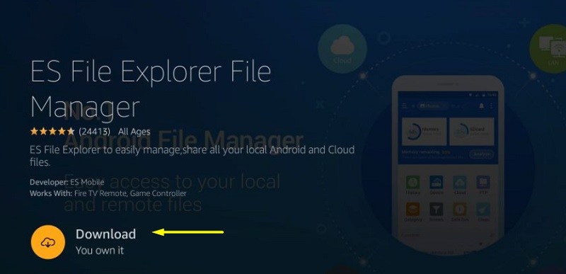 es file explorer on fire tv
