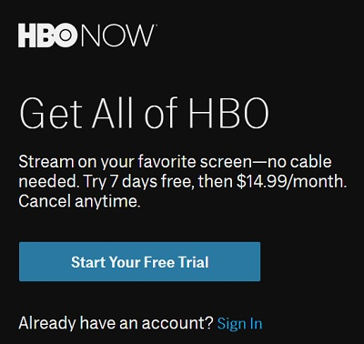 Sign Up for HBO NOW