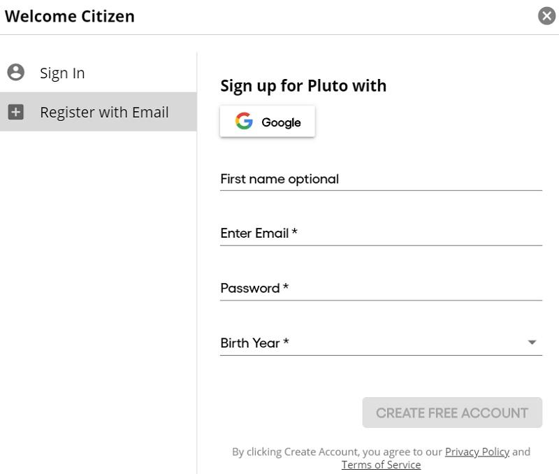 register for pluto tv