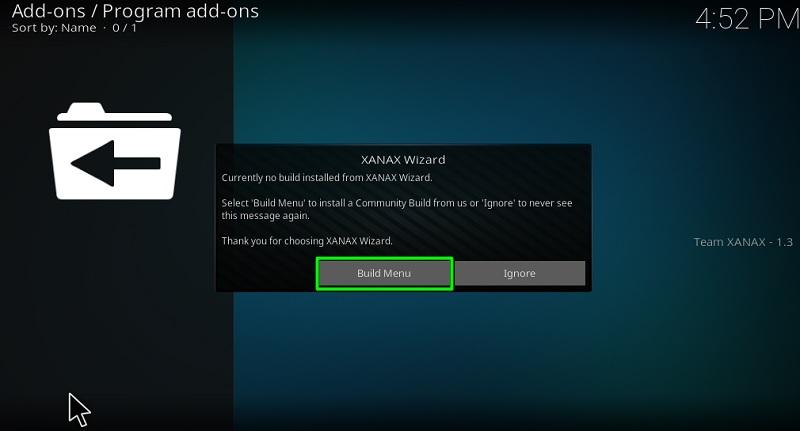 xanax build menu