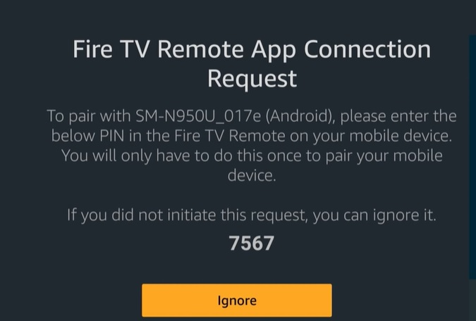 fire tv remote app connection request