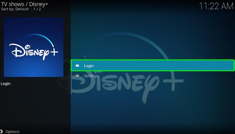 Log-in to the Disney Plus on kodi