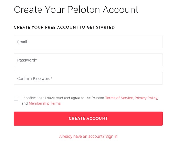 Sign Up for Peloton