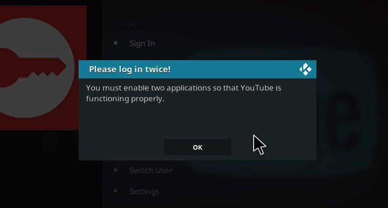 Sign In to YouTube Kodi Addon