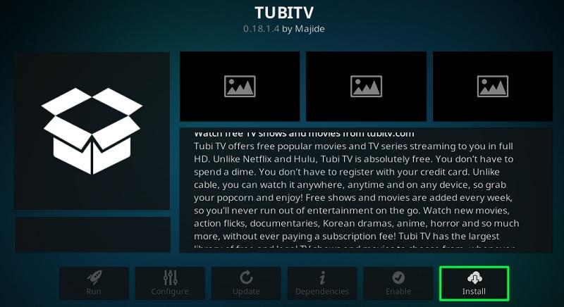 how to install tubitv kodi addon