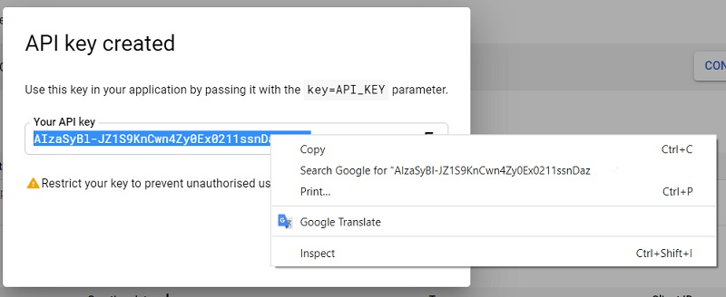 youtube api key